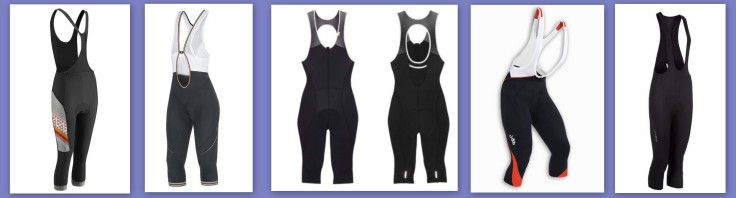 3/4 length cycling bib tights from Morvelo, Gore, Rapha, and dhb (left to right)