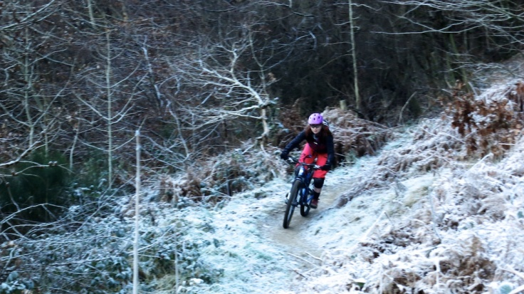 Woman mountain biking in winter in Cwmcarn in Wales