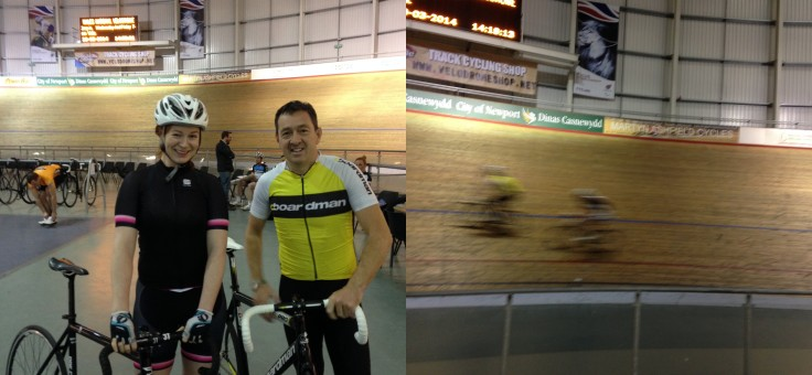 Chris Boardman and Aoife Glass Newport Velodrome