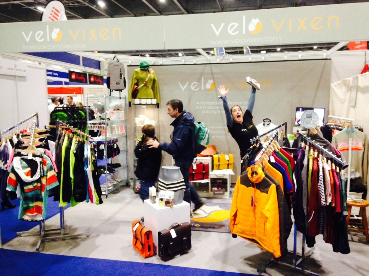 VeloVixen Stand at the London Bike Show - packed full of women's cycling goodies! And a very excited Kirsty :)