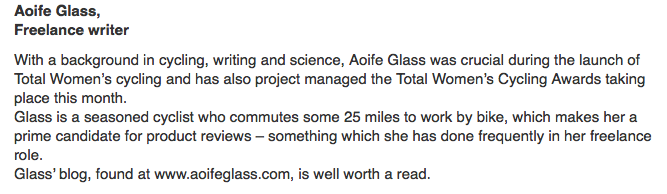 Aoife Glass BikeBiz Women of the Year 2015