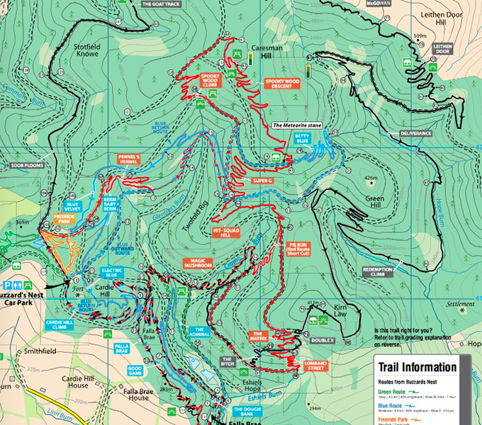 Some of the official trails around the Glentress trail centre in Scotland. Of course, there are plenty more locals trails to be found nearly everywhere, and they aren't marked on the map!