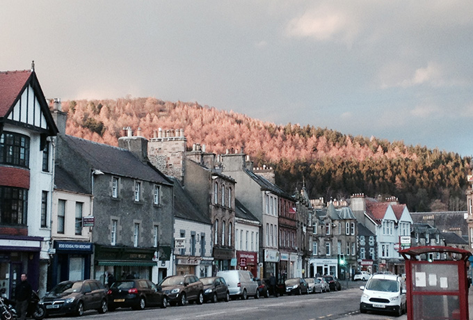 You can stand on the high street of Peebles and more or less spot trails in the forests beyond.