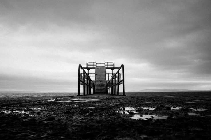 The diving board in Galway looking moody on a blustery spring day. Copyright Phil Hall